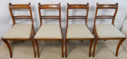 Set of Four Regency Light Mahogany Dining Chairs